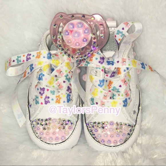 Baby Bling Converse Sneakers with pacifier 7d1cff3ef